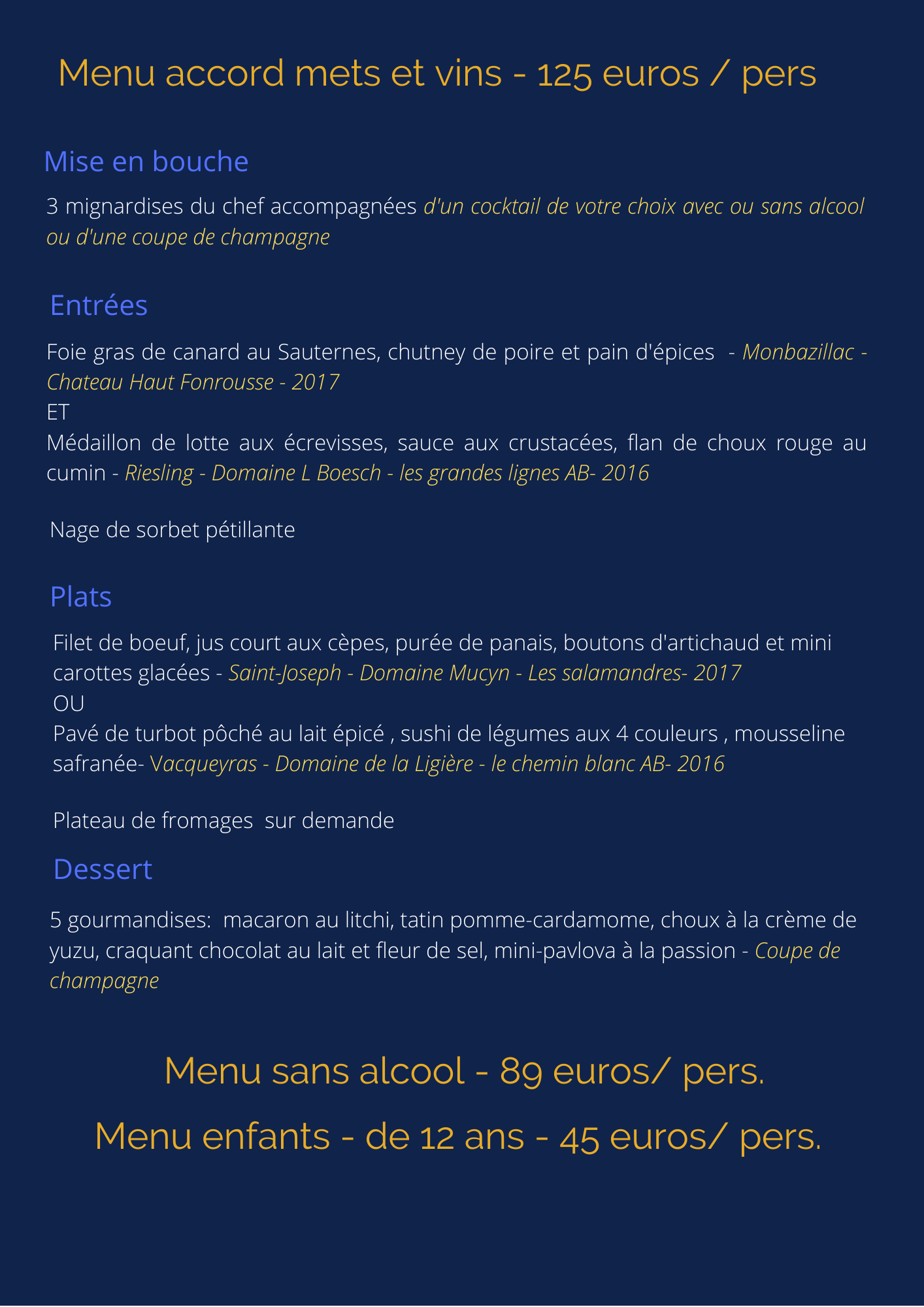 Menu reveillon 2020