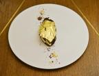 Photo Chocolat à l'infusion de gingembre, sorbet cacao et citron vert sous un voile d'or  - Le Sergent Recruteur