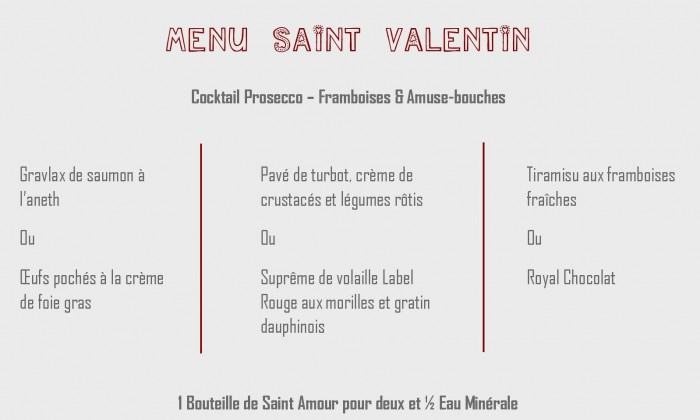 Menu Saint Valentin 2018