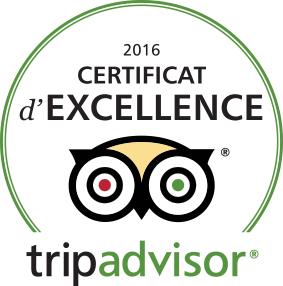 Certificat d'Excellence 2017 TRIPADVISOR !