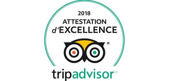 Certificat d'Excellence 2018 TRIPADVISOR !