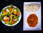 Photo Salade Composée /Rougail De Saucisses Fumée Riz Blanc Haricot Rouges - Les Filaos