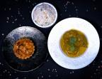 Photo Curry De Poulet Fermier au Lait De Coco Riz Blanc/Tartelette Bananes - Les Filaos