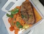Photo Paleron de boeuf, cuisson basse température, carottes Vichy - Clémentine, Terrasse du Quartier Bourse - Maître Restaurateur