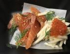 Photo Saumon d'Ecosse label rouge mariné au poivre de Sichuan, orange et aneth, - La Bisquine